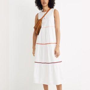 Madewell Rickrack Cattail Tiered Dress S